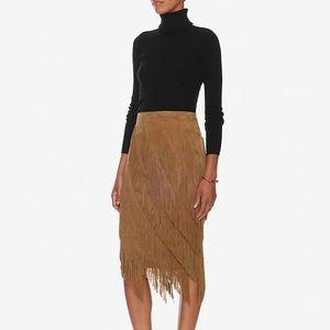 INTERMIX Suede Fringe Skirt, Size M